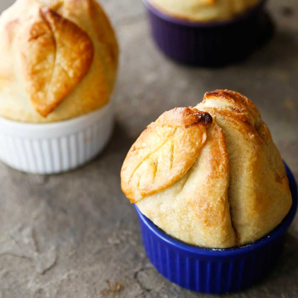 Individual pies made with maple, pecan, pear and olive oil crust served in individual ramekins.