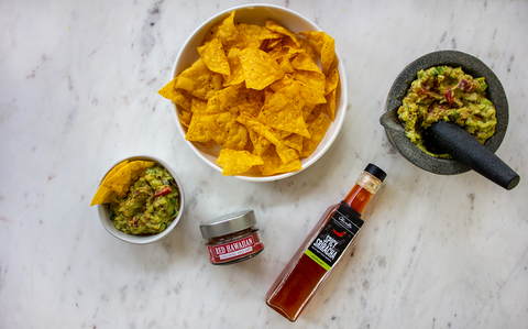 Fiesta Guacamole with Spicy Sriracha Balsamic Vinegar and Red Hawaiian Sea Salt