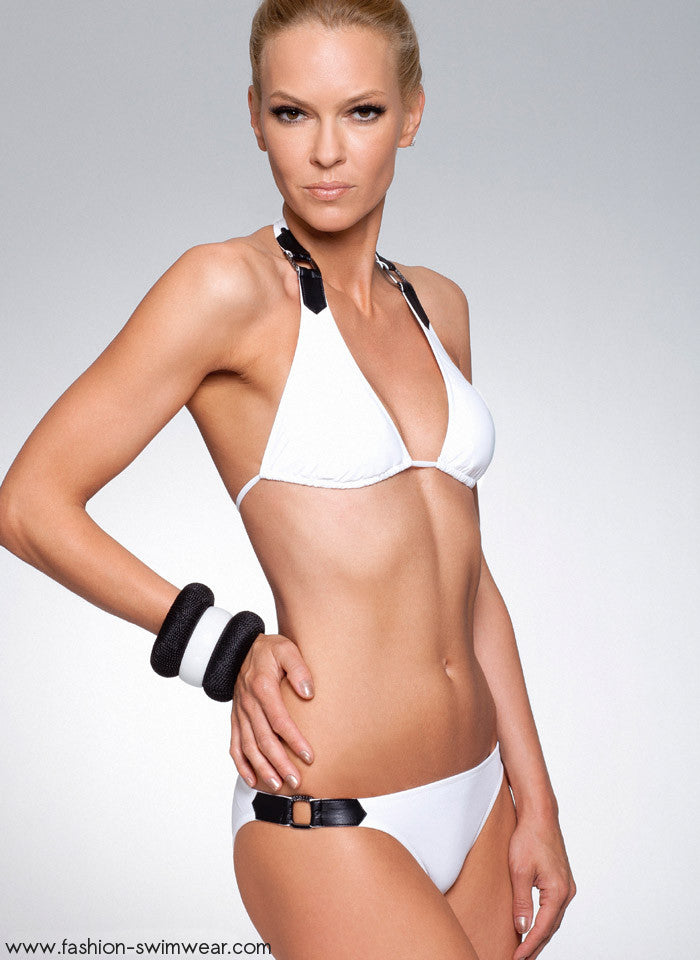 1d24366939 Home Swimwear Black and White Halter Top Swimsuit. White Leather Swimsuit