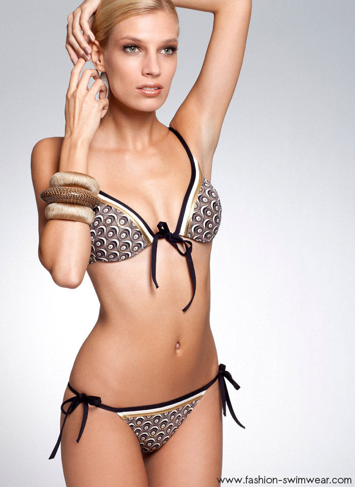 Gold Eye Print Push Up Underwire Swimsuit a1e3c4dce