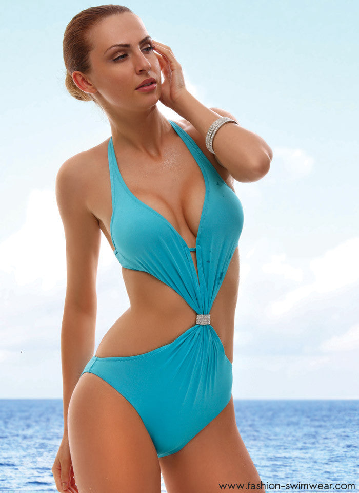 215b32de56 Blue Deep Plunge Monokini Swimsuit - Fashion Swimwear
