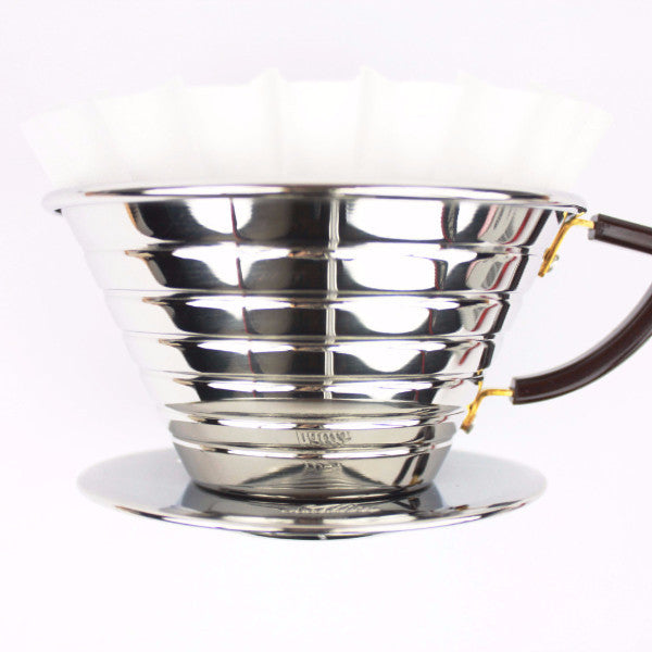 Kalita Wave 185 pour over coffee brewer in stainless steel
