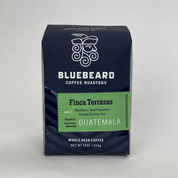 one 12oz bag of Bluebeard coffee from Finca Terrazas, Huehuetenango, Guatemala