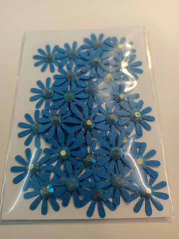 10 Petal Blue Flower with Blue Rhinestone Centre