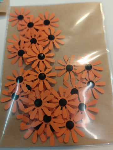 10 Petal Orange Flowers with Black Rhinestone Centre