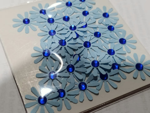 Blue Flowers with Blue Rhinestone Centre