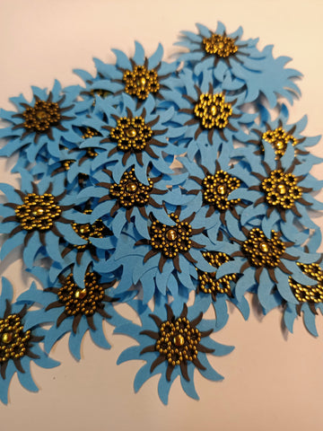 Blue and Navy Flowers with Gold Centre