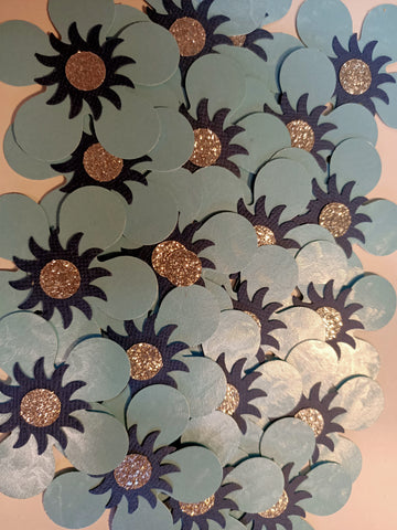 Blue and Navy Flowers with Glitter Gold Centre