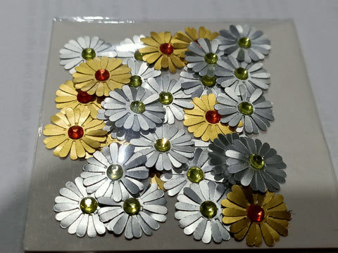Gold and Silver Flowers with Rhinestone Centre