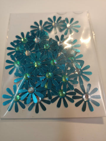 Metallic Blue Flowers with Mixed Rhinestone Centre