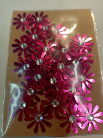 Metallic Pink Flowers with White Rhinestone Centre