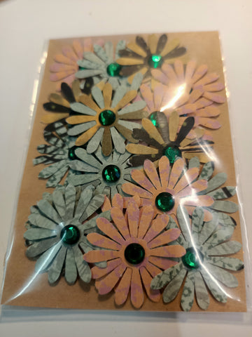 Pattern Flowers with Green Rhinestones