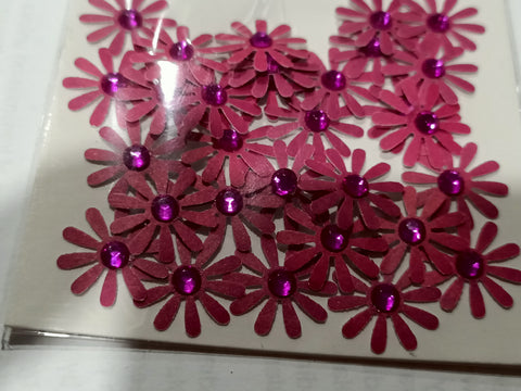 Pink Flowers with Pink Rhinestone Centre