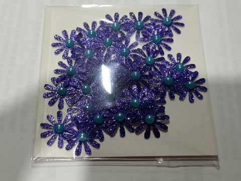 Purple Glitter Flowers with Blue Pearl Centre