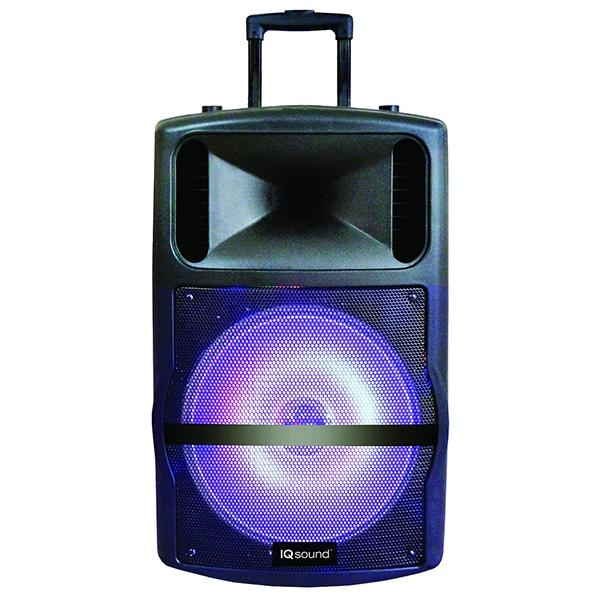 "Iq Sound Bocina Amplificada Recargable  12"",  Luz Led,  Fm ,  Bluetooth ,  Usb , Sd , Aux"