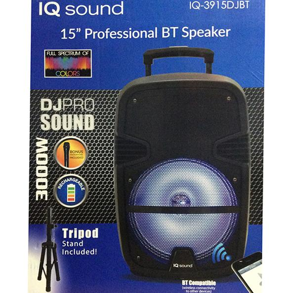 "Iq Sound Bocina Amplificada Recargable 15"" 3000W, Bt, Aux In,  Usb , Sd, Radio Fm , Incluye Tripie"