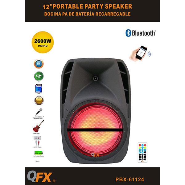 "Qfx Bocina Amplificada 12"" Recargable,  Radio Fm,  Usb,  Sd,  Aux,  Bluetooth"