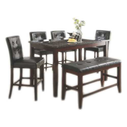 COMEDOR ALTO - RECTANGULAR - MARMOL - 4 SILLAS - BANCA - URBAN 2770-6PC