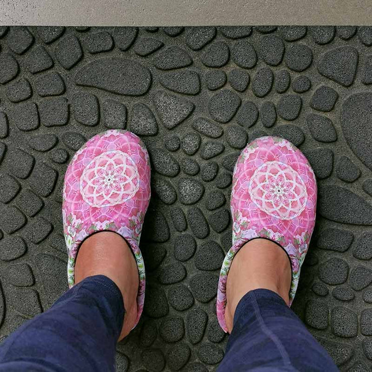 Aqua Sock Water Shoes Indoor Outdoor Athletic Slippers - Pink Floral Mandala Lisa Ing