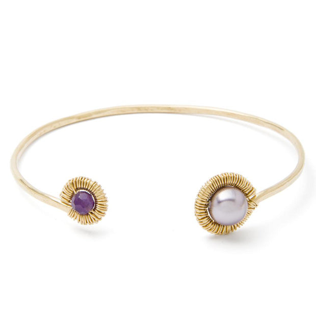 Bracelet Pearl and Amethyst Textured Cuff Bracelet 14k gold filled Lisa Ing