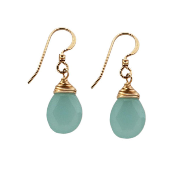 Earrings Chalcedony Teardrop Earrings 14k gold filled Lisa Ing