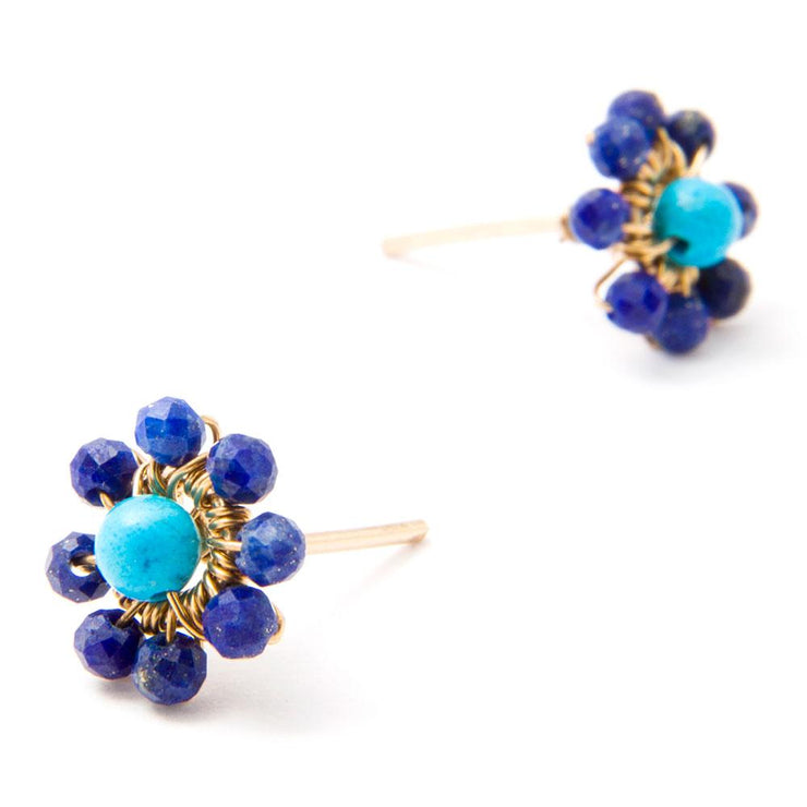 Earrings Lapis Lazuli and Turquoise Flower Stud Earrings Lisa Ing