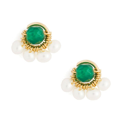 Earrings Pearls and Green Agate Half Flower Stud Earrings Lisa Ing