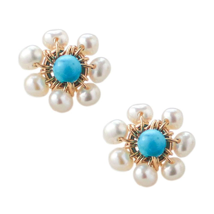 Earrings Pearls and Turquoise Flower Stud Earrings 14k gold filled Lisa Ing