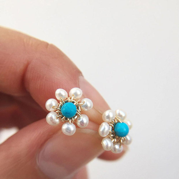 Earrings Pearls and Turquoise Flower Stud Earrings Lisa Ing