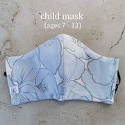 Family Pack Face Mask - Soft Blue Hibiscus Flowers Child 2-Pack ($14) Lisa Ing
