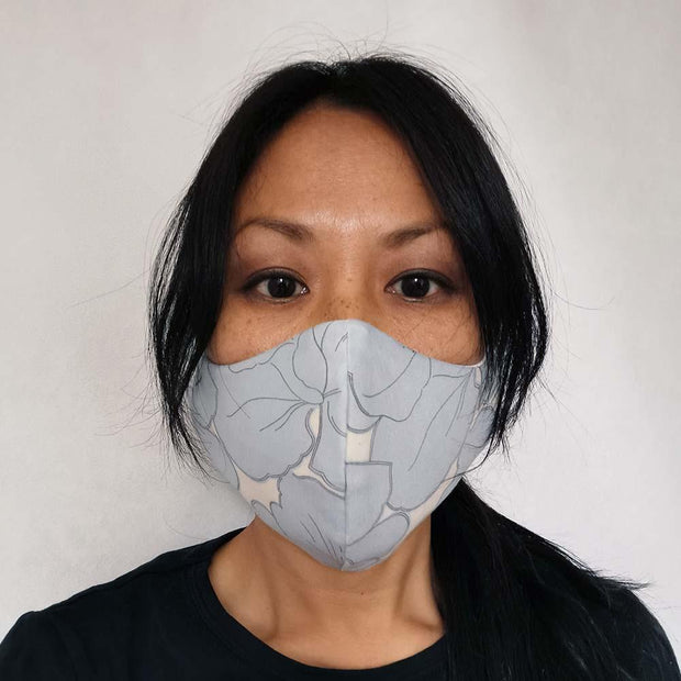 Family Pack Face Mask - Soft Blue Hibiscus Flowers Lisa Ing