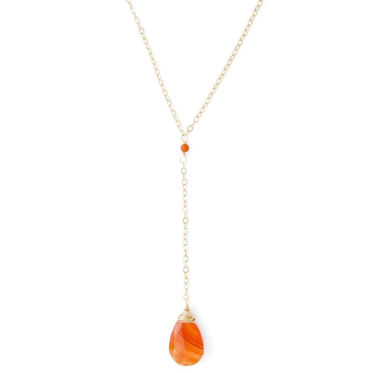 Necklace Carnelian Gemstone Y Necklace 14k gold filled Lisa Ing