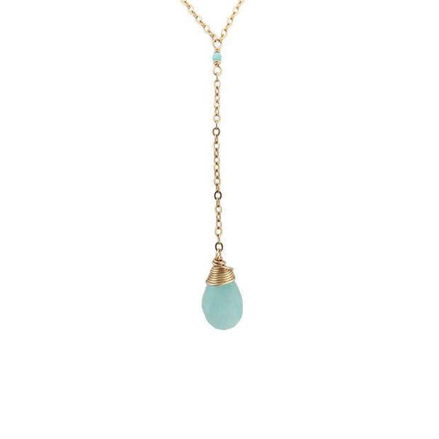 Necklace Chalcedony and Amazonite Gemstone Y Necklace 14k gold filled Lisa Ing