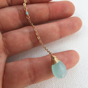 Necklace Chalcedony and Amazonite Gemstone Y Necklace Lisa Ing