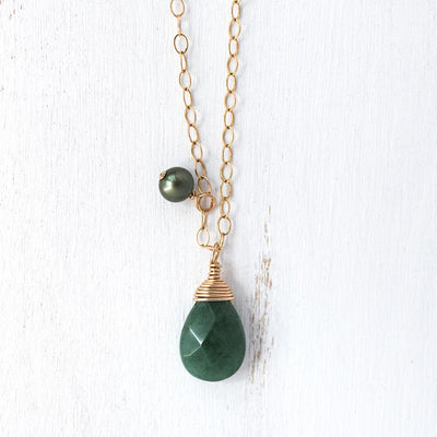 Necklace Green Jade Gemstone and Pearl Charm Necklace Lisa Ing