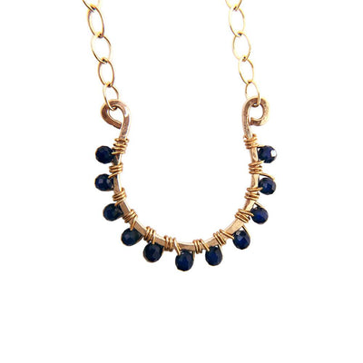 Necklace Horseshoe Necklace with Blue Sapphire Lisa Ing