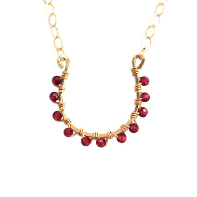 Necklace Horseshoe Necklace with Garnet 14k gold filled Lisa Ing