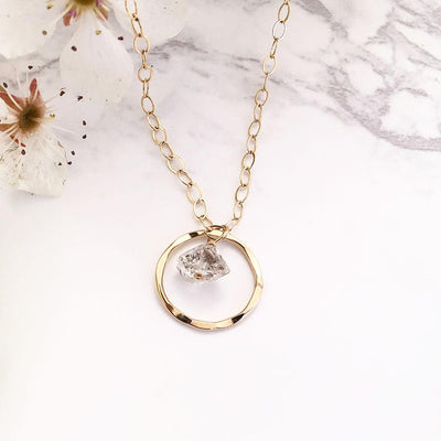 Necklace Unity Necklace with Herkimer Diamond 14k gold filled Lisa Ing