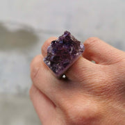 Ring Amethyst Raw Carved Ring Lisa Ing