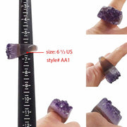 Ring Amethyst Raw Carved Ring Style AA1 - Size 6 1/2 US Lisa Ing
