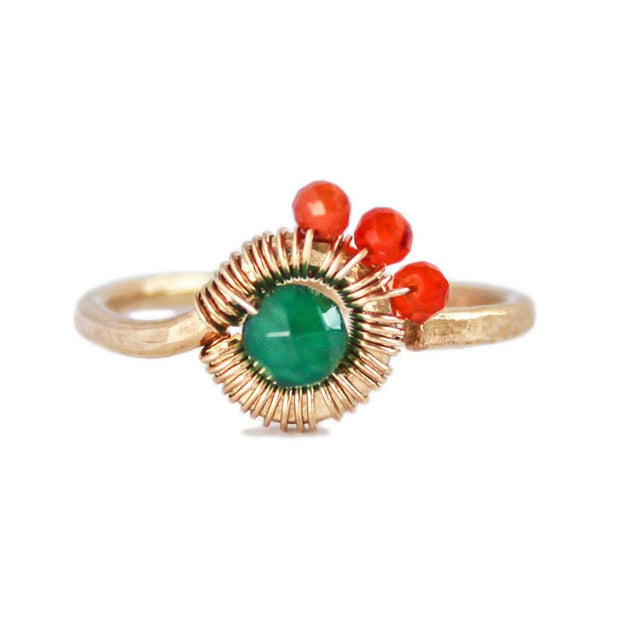 Ring ASYMMETRIC RING - Carnelian and Green Agate Lisa Ing