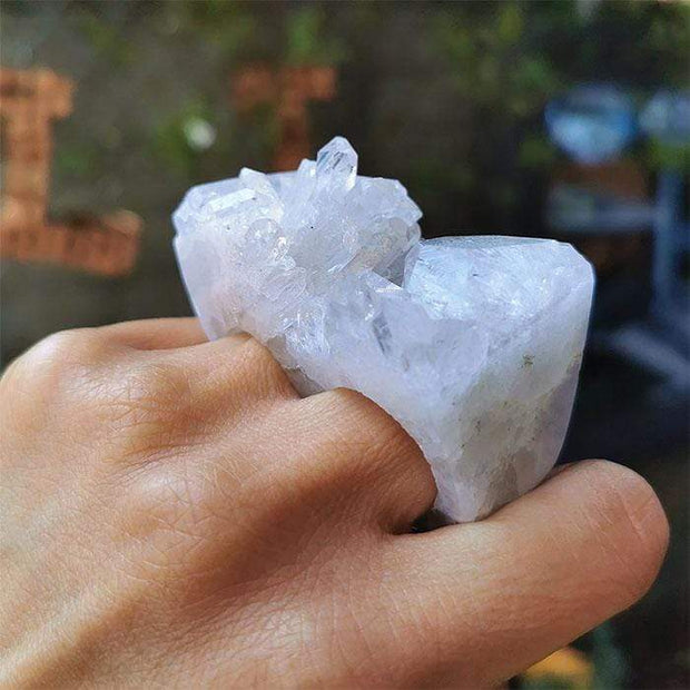 Ring Crystal Quartz Raw Carved Double Ring Q7 Lisa Ing