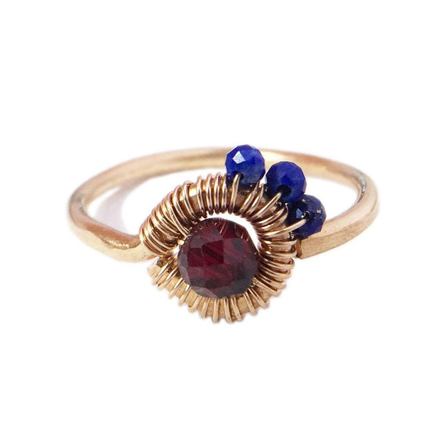 Ring Lapis lazuli and Garnet Asymmetric Ring Lisa Ing