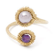 Ring Pearl and Amethyst Wraparound Ring 7 / 14k gold filled Lisa Ing