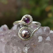 Ring Pearl and Amethyst Wraparound Ring 7 / sterling silver Lisa Ing