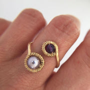 Ring Pearl and Amethyst Wraparound Ring Lisa Ing