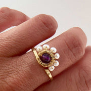 Ring Pearls and Amethyst Peacock Ring Lisa Ing