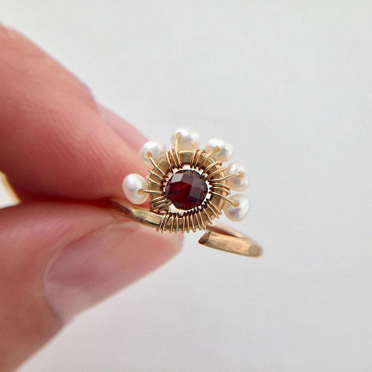 Ring Pearls and Garnet Peacock Ring Lisa Ing
