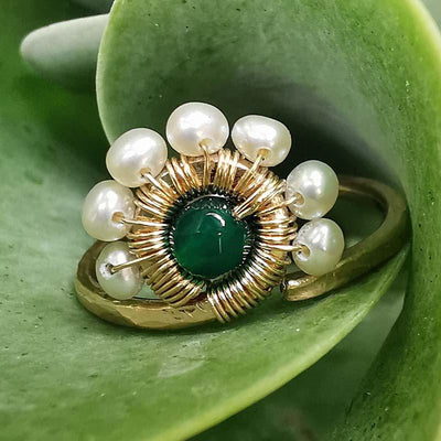 Ring Pearls and Green Agate Peacock Ring Lisa Ing