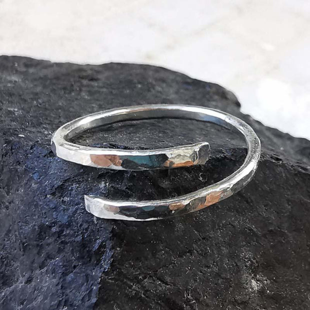 Ring Wave Wraparound Ring 5 / Sterling silver Lisa Ing